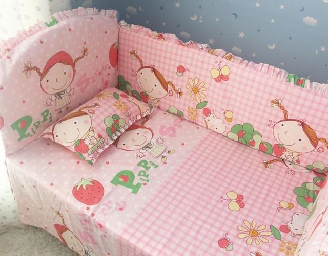 Promoción! 6 unids fresa chica cuna juegos de cama cuna cuna cuna ropa de cama ( bumpers + hojas + almohada cubre )