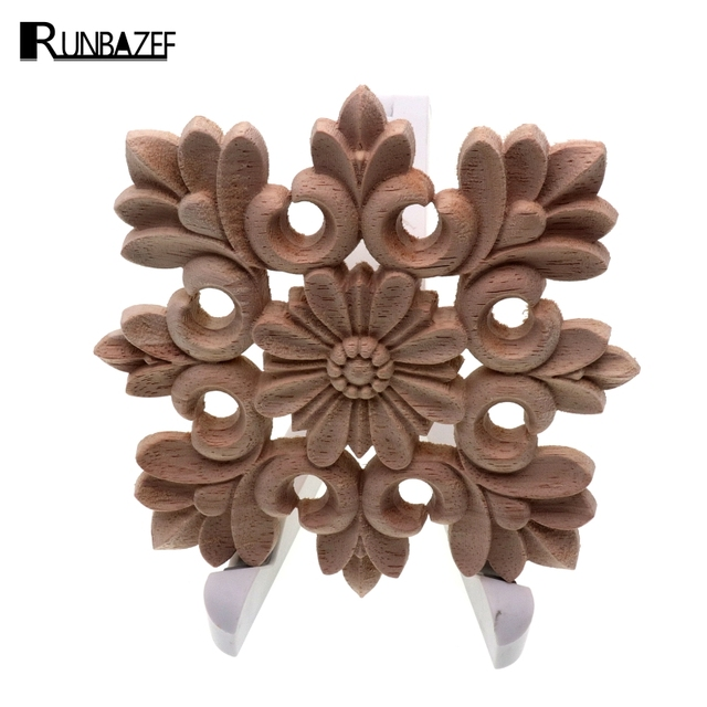 RUNBAZEF Vintage Unpainted Wood Carved Decal Corner Onlay Applique Frame Home decoration accessories Furniture Wall Decor Crafts 1