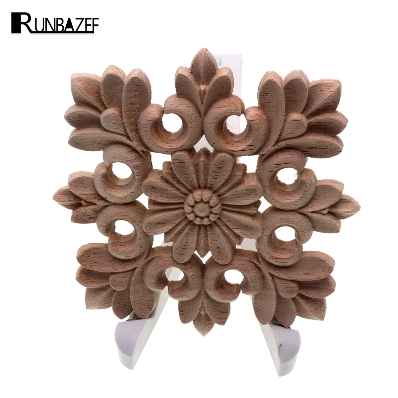 RUNBAZEF Vintage Unpainted Wood Carved Decal Corner Onlay Applique Frame Home Decoration Accessories Furniture Wall Decor Crafts