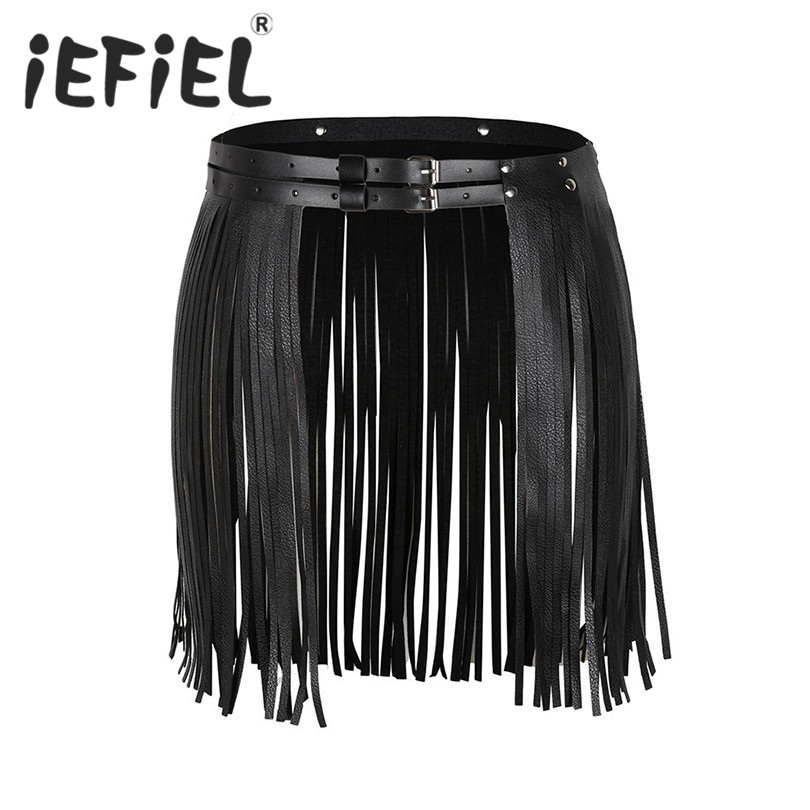 iEFiEL New Arrival Sexy Women Adjustable Faux Leather Waistband Fringe Tassel Skirt Belt Nightwear Nightclub Performance Skirts