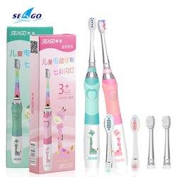 Crianças sonic escova de dentes elétrica colorida iluminação led à prova dwaterproof água macio substituição cabeças escova dentes cerdas rosa/verde