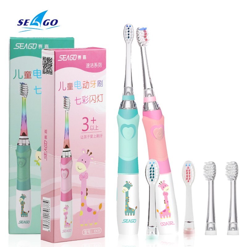 Kinder Sonic Elektrische Zahnbürste Bunte Led Beleuchtung Wasserdichte Kinder Weiche Ersatz Pinsel Köpfe Zähne Borsten Rosa/Grün