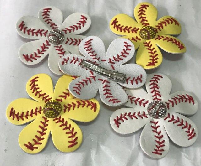 24c95f3d0 Softball leather Flower Girls Fast Pitch Bling Flip Flop Softball Hair  Clip Softball