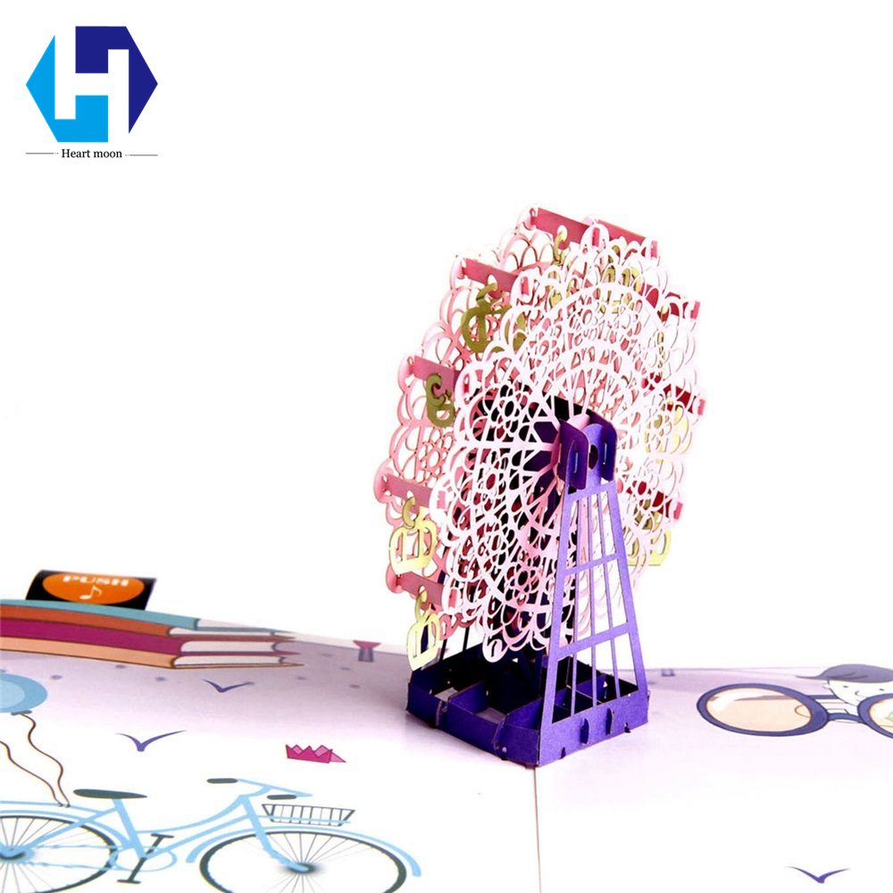 Music 3D pop up colorful printing Sky wheel greeting card laser cutting envelopes postcard hollow carved kirigami gifts music card spiral pop up musical notes 3d card music instruments pop up card bday pop up card