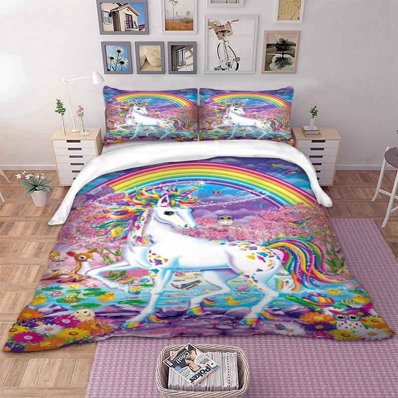 f73dfd197 Compre Juego De Ropa De Cama Unicornio Funda Nórdica Rainbow Fundas ...