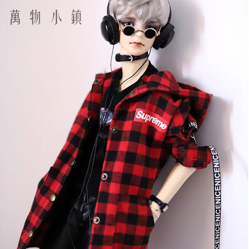 New 1/3 1/4 BJD SD MSD Doll Clothes Printed checked Red black shirt PUNK Coat 1pair new fashion sd bjd doll accessories casual shoes for bjd doll 1 4 1 3