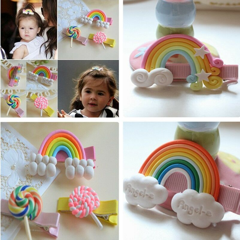 cute rainbow candy hairpin girls kids hair clip bows barrette accessories for children headdress hairclip ornaments headwear baby cute style children accessories hairpins rabbit fur ear kids girls barrette lovely hair clip