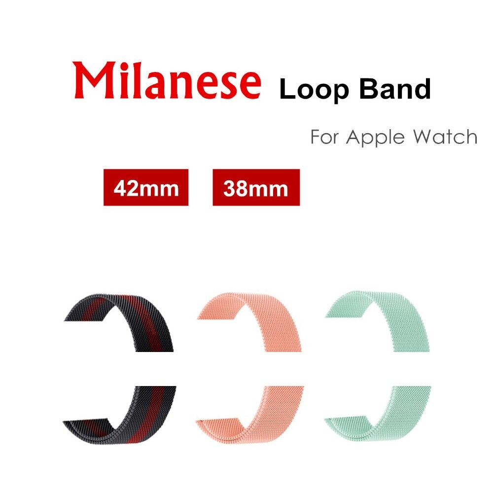 CRESTED milanese loop strap per apple watch band 42mm/38mm/44mm/40mm iwatch4/ 3/2/1 liscio in acciaio inox di maglia Tessuto cintura