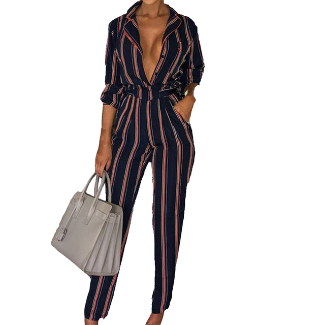 e2cb2dfc5cb Sexy Buttons V-Neck Autumn Women Jumpsuits Femme Office Casual Striped Long  Sleeve Sashes Jumpsuit