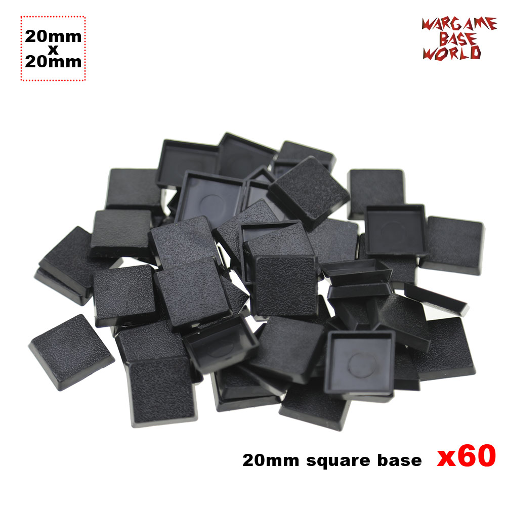60 X 20mm Base Square Plastic Bases For Wargames And Gaming Miniatures Bases