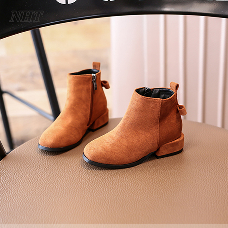 Nauhutu original leather kid girl boots ankle bow-knot fashion princess little girls autumn shoes winter booties child footwear 2014 new autumn and winter children s shoes ankle boots leather single boots bow princess boys and girls shoes y 451