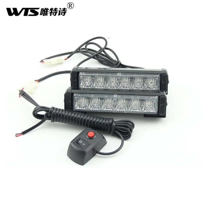 Livraison gratuite 2x6LED voiture Police stroboscope Modes de lumière Flash Auto voyant 12 W haute puissance attention lampe voiture-style