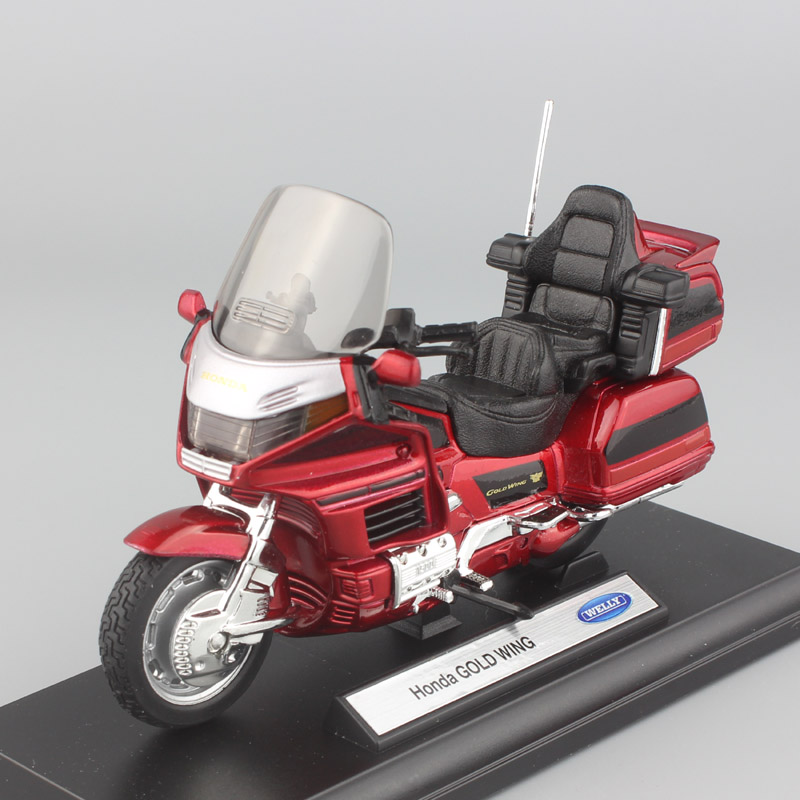1:18 échelle Enfant de Honda Gold Wing randonnée motos Motos en métal petit modèle auto voitures Cruiser Diecast jouets pour enfants rouge
