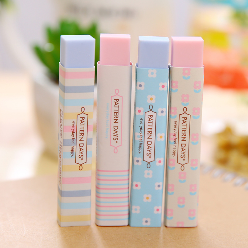 1Pc Cube Long Rubber Pencial Kawaii Eraser Cute Color Eraser Novel School Supplies Stationery Erasers Correction Products
