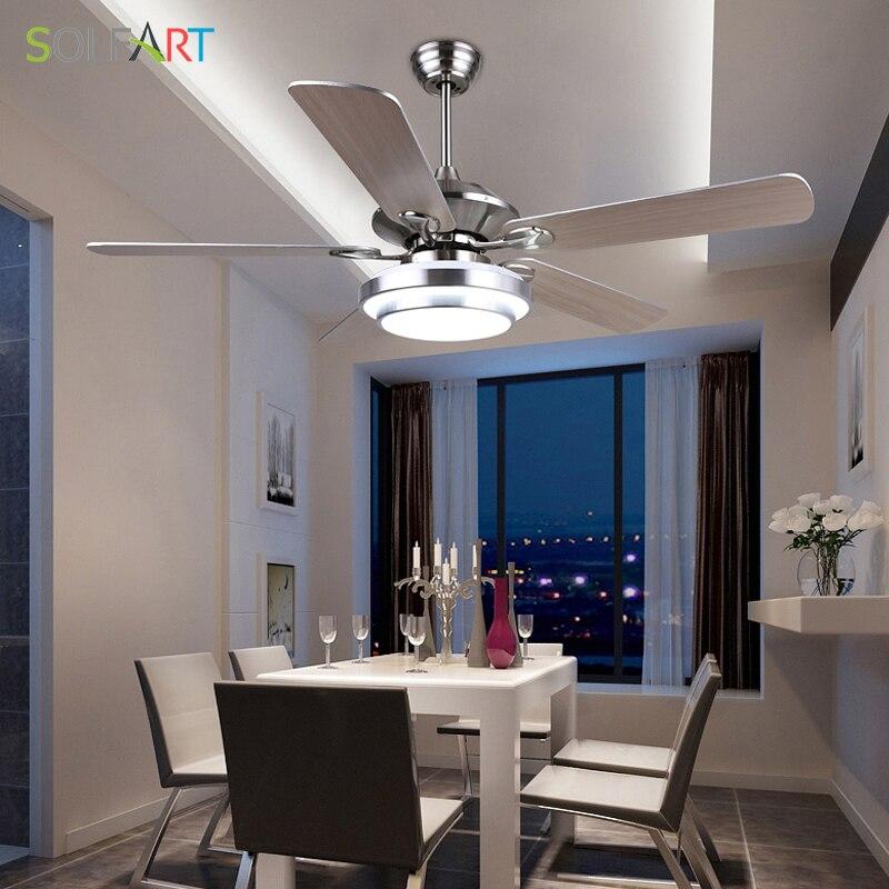 SOLFART потолочный вентилятор современные светодиодные деревянные потолочные вентиляторы с подсветкой серебристый бронзовый 42 дюймовый 48 дюймовый 52 дюймовый декоративные вентиляторы SLF2062A потолок