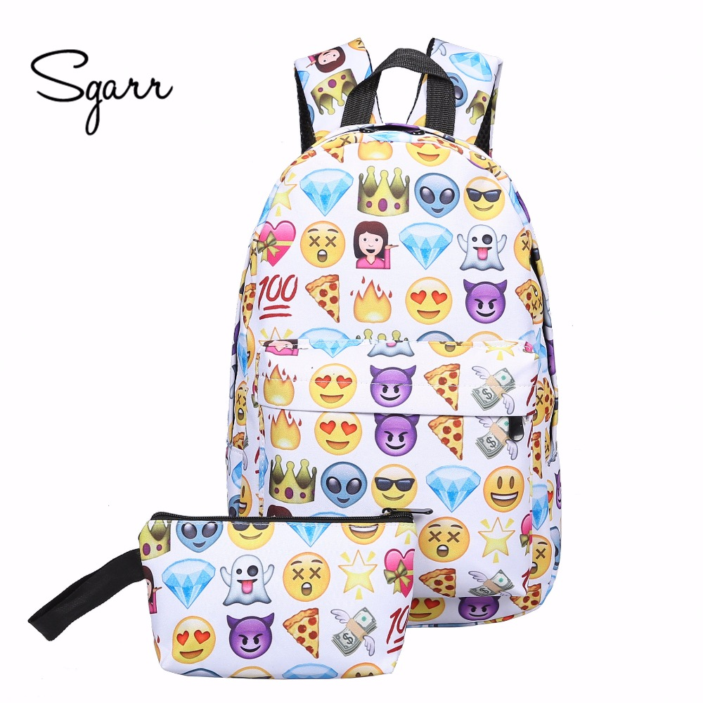 SGARR Fashion Women Canvas Backpack Casual 2 Pieces Set Emoji Printing Female Travel Bag For Teenager Girls School Bags Rucksack