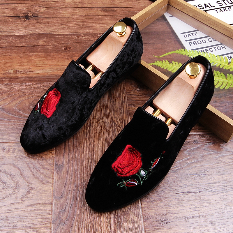 England Fashion Men Prom Banquet Dress Rhinestone Soft Leather Shoes Spider Design Slip-on Lazy Shoe Breathable Loafers Sneakers Men's Casual Shoes