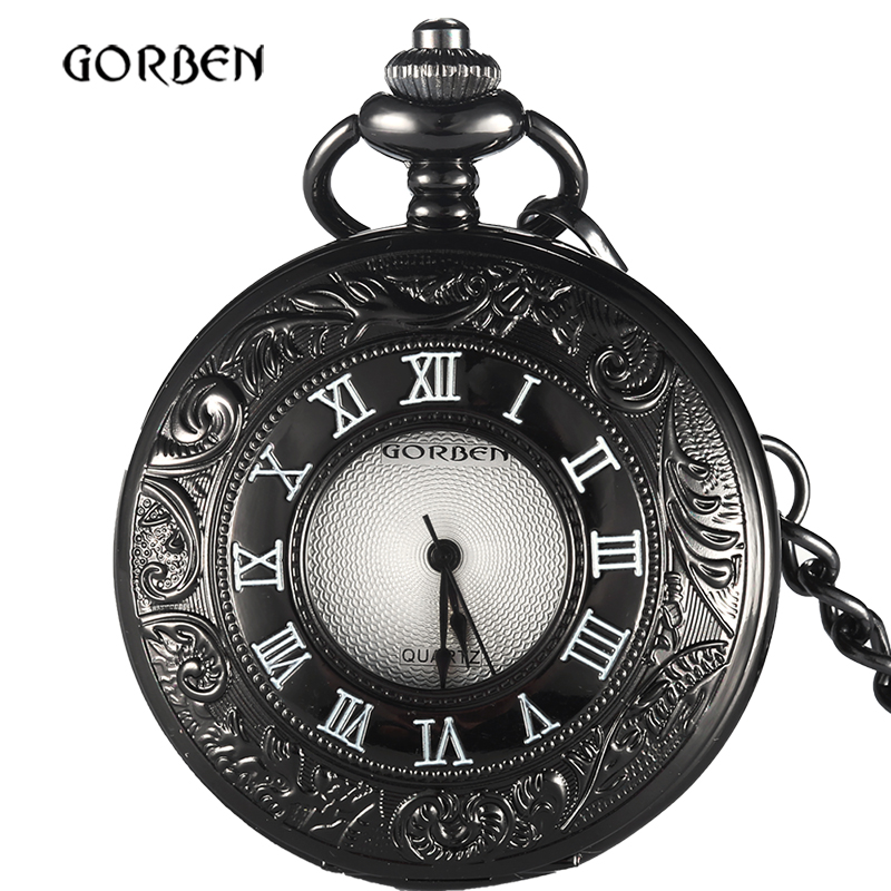 2018 Unique Japan Black Bronze Retro pocket FOB watch Chain with Roman number Vintage Quartz Mens Watches Relogio De Bolso Clock fashion vintage pocket watch train locomotive quartz pocket watches clock hour men women necklace pendant relogio de bolso