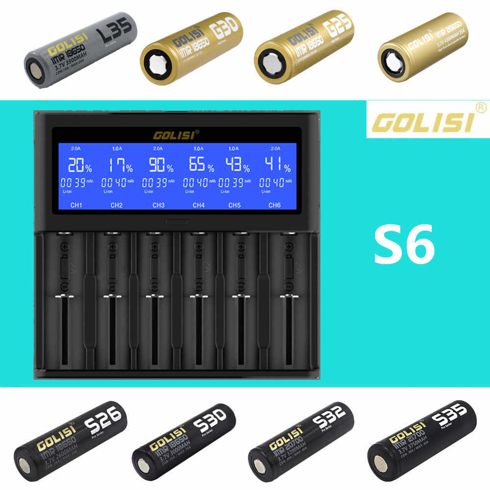Golisi S2 S4 S6 интеллигентая (ый) Батарея ЖК-дисплей Зарядное устройство для зарядки для 18650 21700 26650 литий-ионный аккумулятор Ni-CD AAA батарейки типа АА горячая распродажа