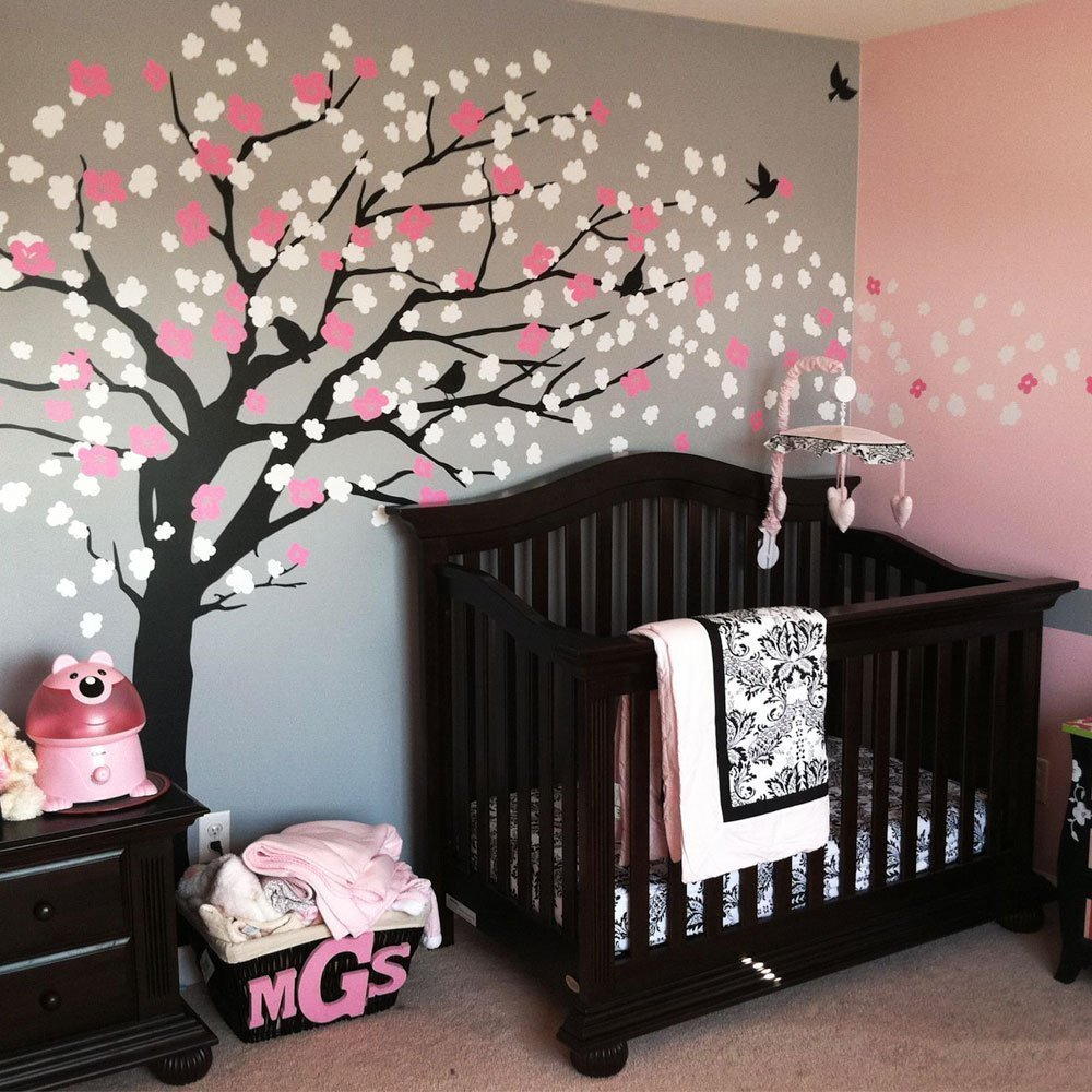 Wall art decals for nursery - W093 Cherry Blossom Tree For Nursery Decoration Large Tree Vinyl Wall Decal For Kids Room Decor