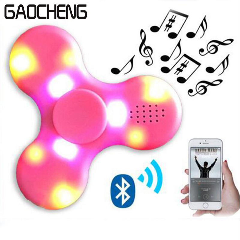 GAOCHENG LED Bluetooth Speaker Hand toy Music Figet Spiner EDC Hand Spinner For Autism/Kids/Adult Funny Fidgets Toy Speakers  50pcsnew pattern colorful hand tri spinner fidgets toy torqbar alloy edc sensory fidget spinners for autism and kids adult funny