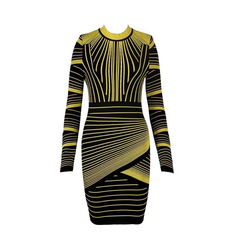 Venta al por mayor 2019 otoño e invierno nuevo vestido de manga larga jacquard de gama alta de lujo de moda celebridad fiesta vendaje vestido (h2514)-in Vestidos from Ropa de mujer on AliExpress - 11.11_Double 11_Singles' Day 1