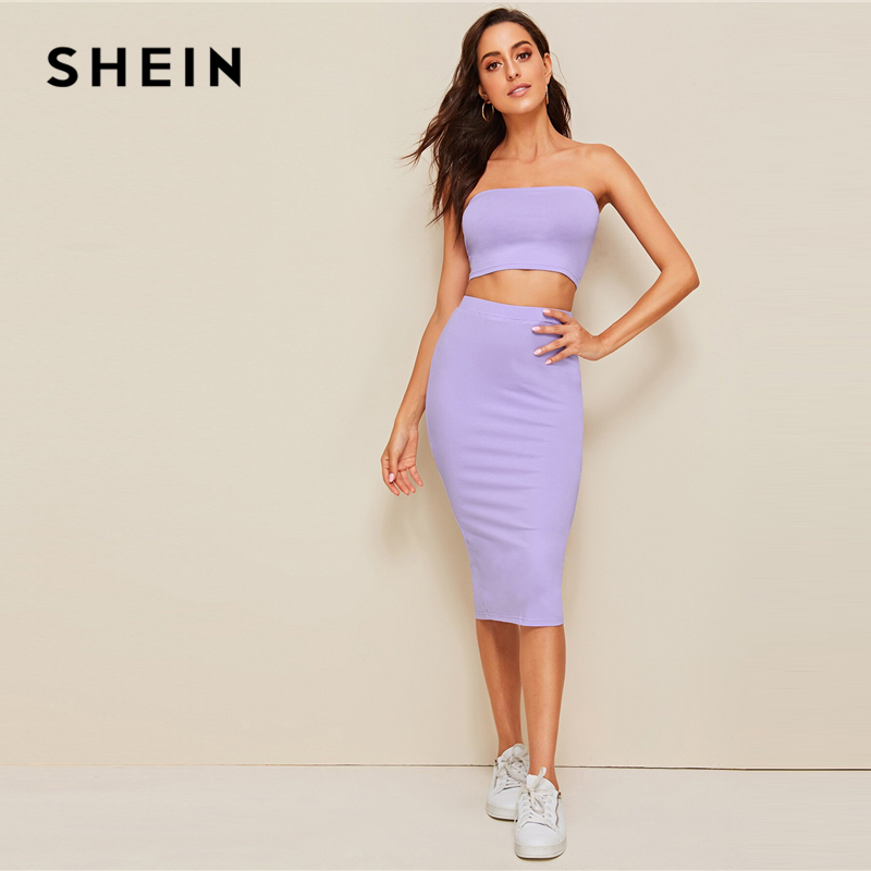 SHEIN Crop Bandeau Top And Split Pencil Skirt Set 2019 Purple Solid Strapless Sleeveless Sexy Summer Slim Fit Two Piece Set