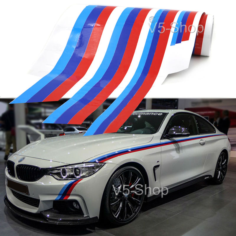 2 Side M Colored Stripe Car Body Sticker Decal For BMW 3/5