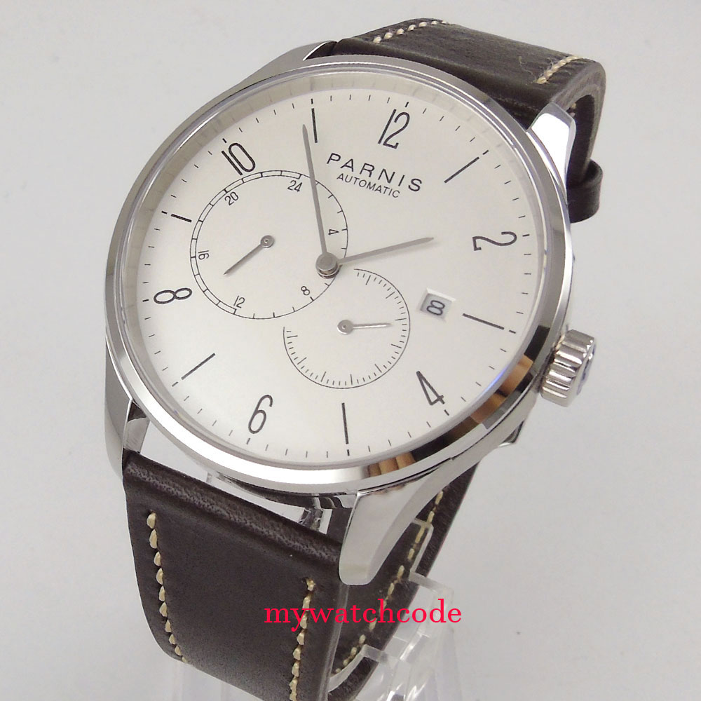 42mm Parnis white dial Sapphire glass stainless case Miyota automatic mens watch 42mm parnis white dial sapphire glass golden miyota automatic mens watch