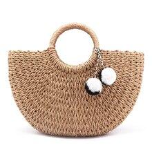 2018 New Summer Handmade Bags Women Pompon Beach Weaving Ladies Straw Bag Wrapped Beach Bag Moon shaped Bag