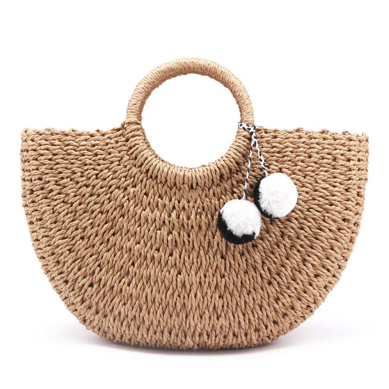 New Summer Handmade Bags Women Pompon Beach Weaving Ladies Straw Bag Wrapped Beach Bag Moon Shaped Bag