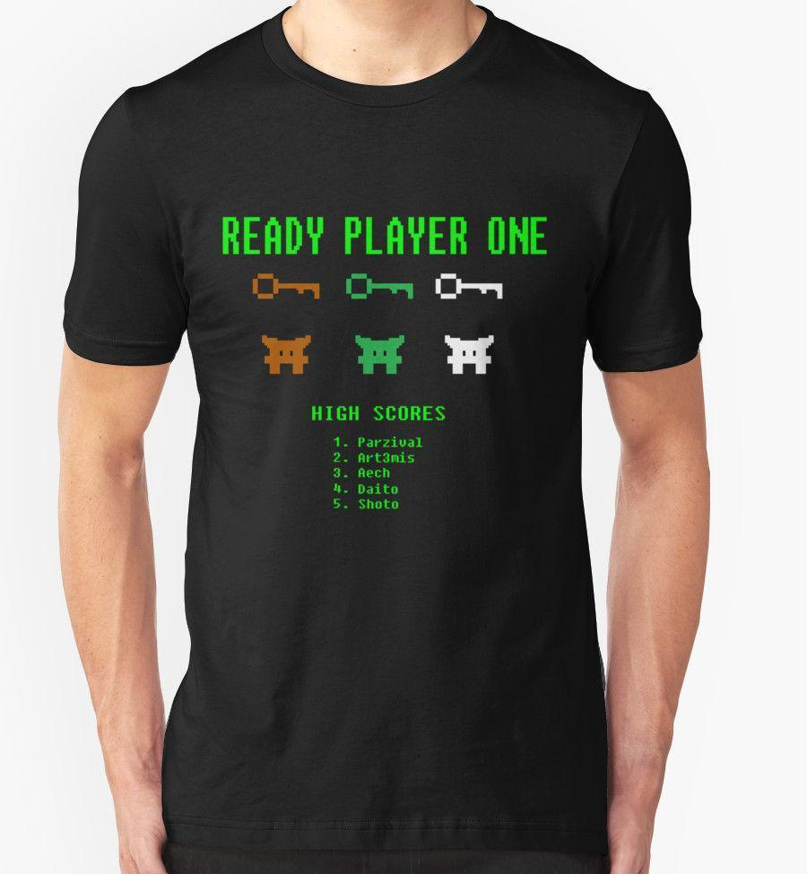 READY PLAYER ONE SPACE INVADERS T SHIRT FUNNY T-SHIRTS FOR MEN NERDY TSHIRTS