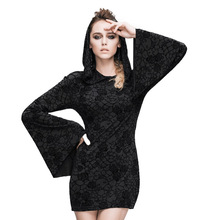 Steampunk Gothic Ukraine Black Dresses For Women Roses Print Flocking Knitted Dress With Hooded Long Sleeve Women Clothing