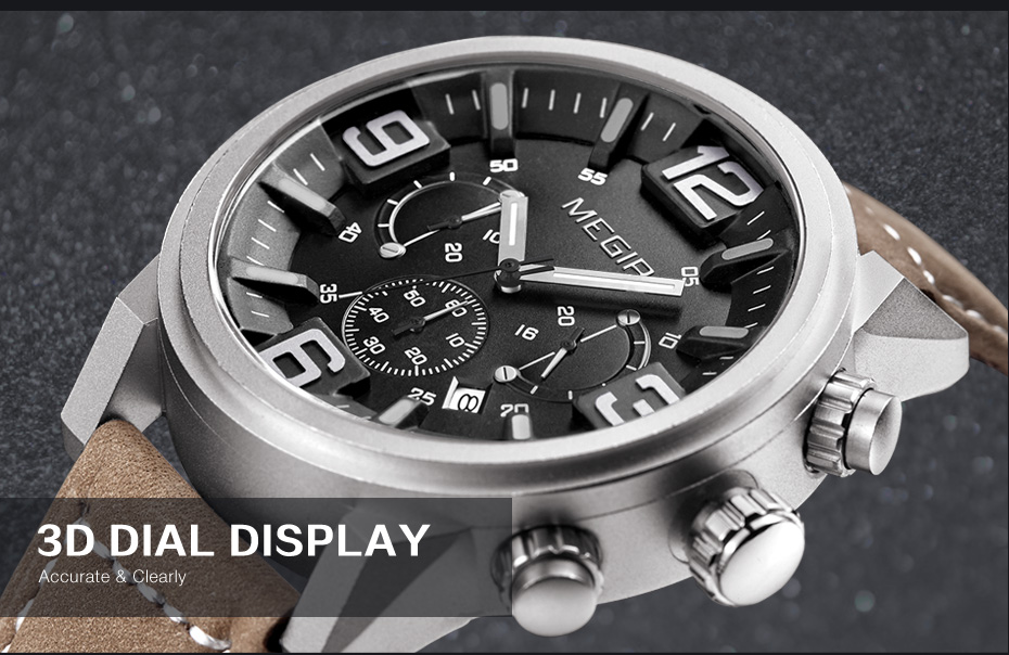Topdudes.com - MEGIR Sports Casual Fashion Big Dial Quartz Chronograph Leather Wrist Watch