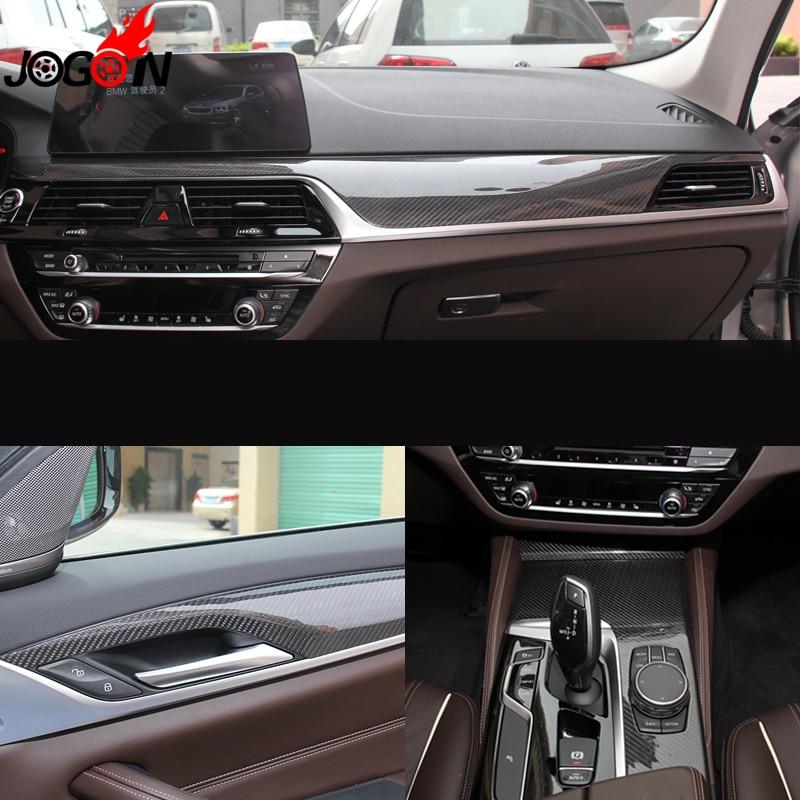 9PCS LHD Carbon Fiber For BMW 5 Series G30 G38 2017 2018 Interior Central Console Control Door Handle Panel Molding Cover Trim