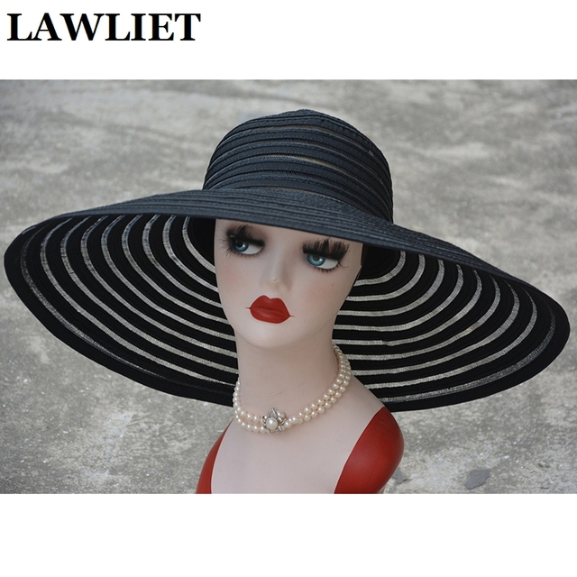 New Fashion Style Women Sun Hat Polyester Wide Brim Ventilation Summer Casual Fashion Beach Hats Elegant Ladies Floppy Hats A349