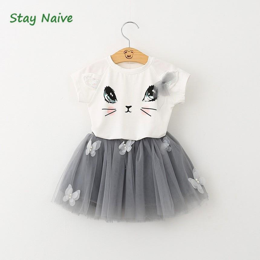 aafc791c4218a Sıcak satış 2017 yeni giyim güzel çocuk kız kedi kostüm Tişört ceket tutu  etek takım elbise yay giysi