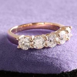 Image 5 - Transgems anillo de oro sólido de 14K 585 para mujer, sortija de boda de 1,25ctw de 4mm, Diamante de moissanita de Color medio eternidad, joyería