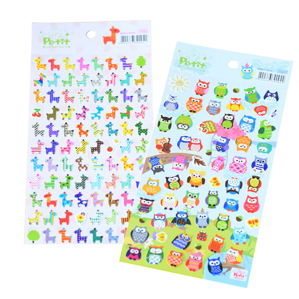 1pc Bubble Stickers 3D Cartoon Giraffe Owl Animals Classic Toys Scrapbook For Kids Children Gift Reward Sticker