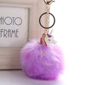 Image 4 - かわいいユニコーンぬいぐるみふわふわ毛皮ポンポン金属unicornioキーリング女性女の子バッグハングペンダント子供の誕生日イースターギフトおもちゃ