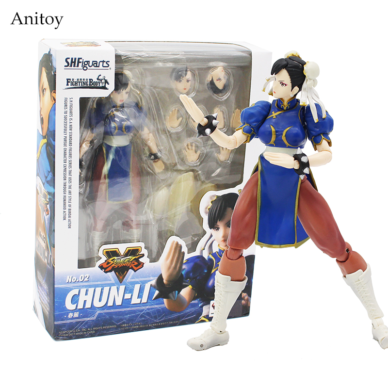 SHFiguarts Street Fighter IV Chun Li Fighting Body PVC Action Figure Collectible Model Toy 14.5cm KT4235 shfiguarts naruto uchiha itachi moloing and movable pvc action figure collectible model toy 16cm