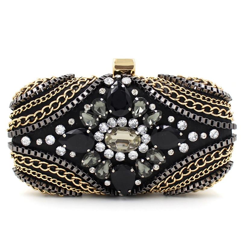 Hechos a mano de lujo diamante negro cadena de embrague noche bolsa de fiesta de