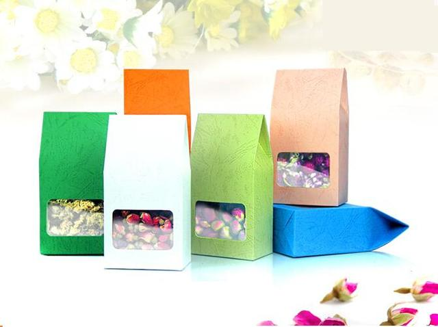30 pcs lot Thé emballage carton karft papier sac, boîte De Fenêtre Transparente  Pour ff4913d405ab