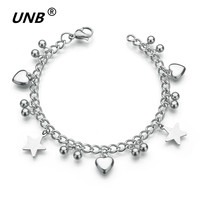 UNB Drop Shipping Unique Gift For Lover Heart And Stars Pendant Couple Bracelets Stainless Steel Bracelets