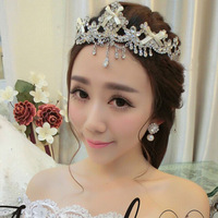 Fashion The Bride Alloy Cloth Art Tassel Set Auger Big Crown Tiara Cute Bowknot Headdress Wedding