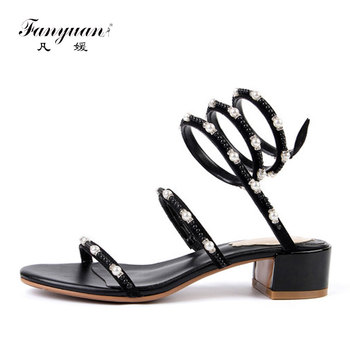 Fanyuan Leather Sandals Women Pearl Strap Snake Sandals Glitter Womens Shoes Summer Elegant Party Dress Shoes Woman sandalie