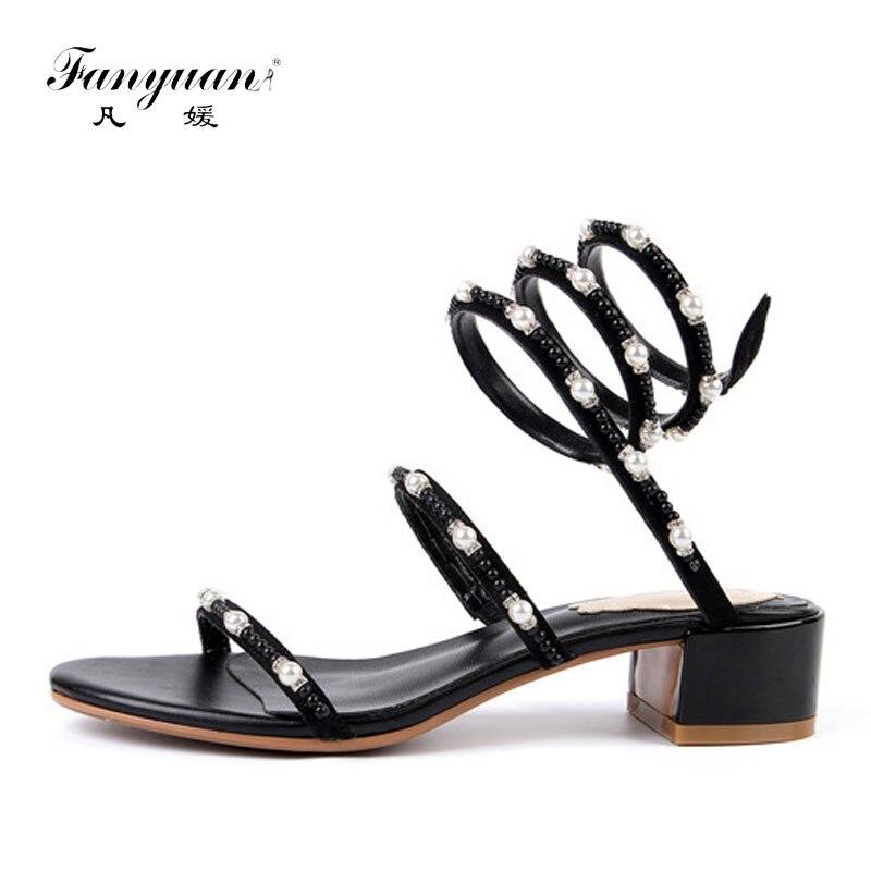 Correa Serpiente Cuero Zapatos Mujer De Perlas Para Verano Con Sandalias Fanyuan sQxhCBtrd