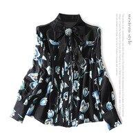 Шелк Длинные рукава принт однобортная блузка 2018 новый для подиума Женская летняя обувь рубашки высокого качества офисные тонкие рубашки