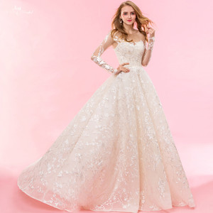 Image 2 - RSW1322 Real Pictures Yiaibridal Long Sleeve Wedding Dress Champagne Robe De Chambre