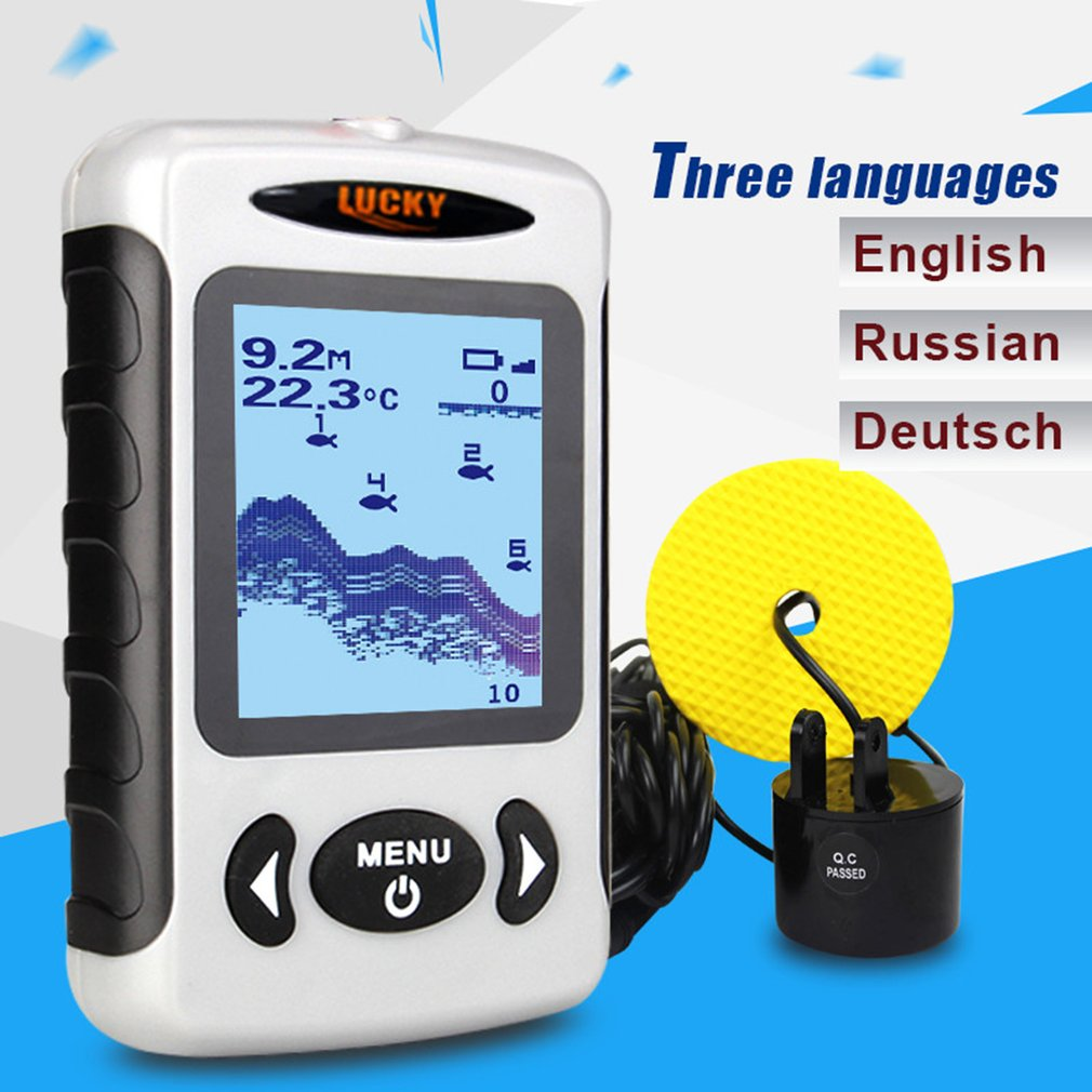 все цены на Free Shipping! LUCKY FF718 Fish Finder Portable Sonar Wired LCD Fish depth Finder Alarm 100M Electronic Fishing Tackle Wholesale